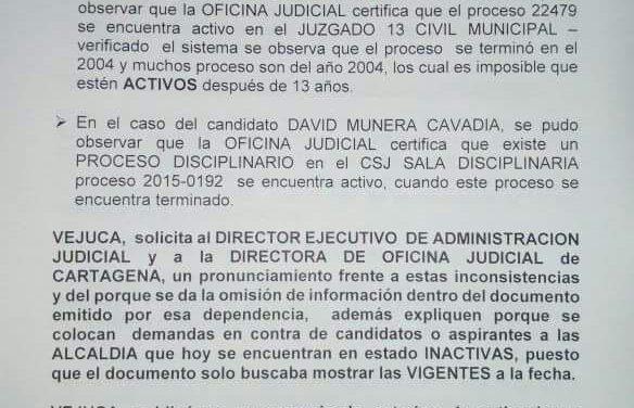 VEJUCA denuncia inconsistencias en el informe presentando por la Rama Judicial sobre procesos judiciales de los candidatos a las elecciones Atípicas
