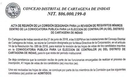 Así van las elecciones para los nuevos contralores en Cartagena
