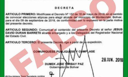 Gobernación de Bolívar desmiente aplazamiento de elecciones atípicas en Montecristo