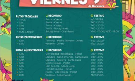Estos son los horarios del Transcaribe en las Fiestas de Independencia
