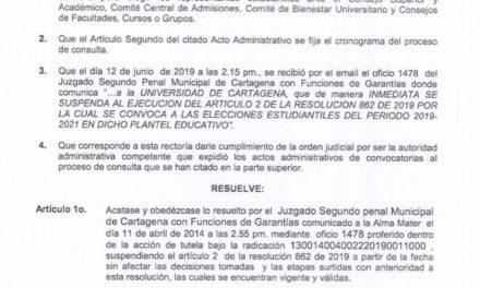 Se suspenden elecciones estudiantiles en la Universidad de Cartagena
