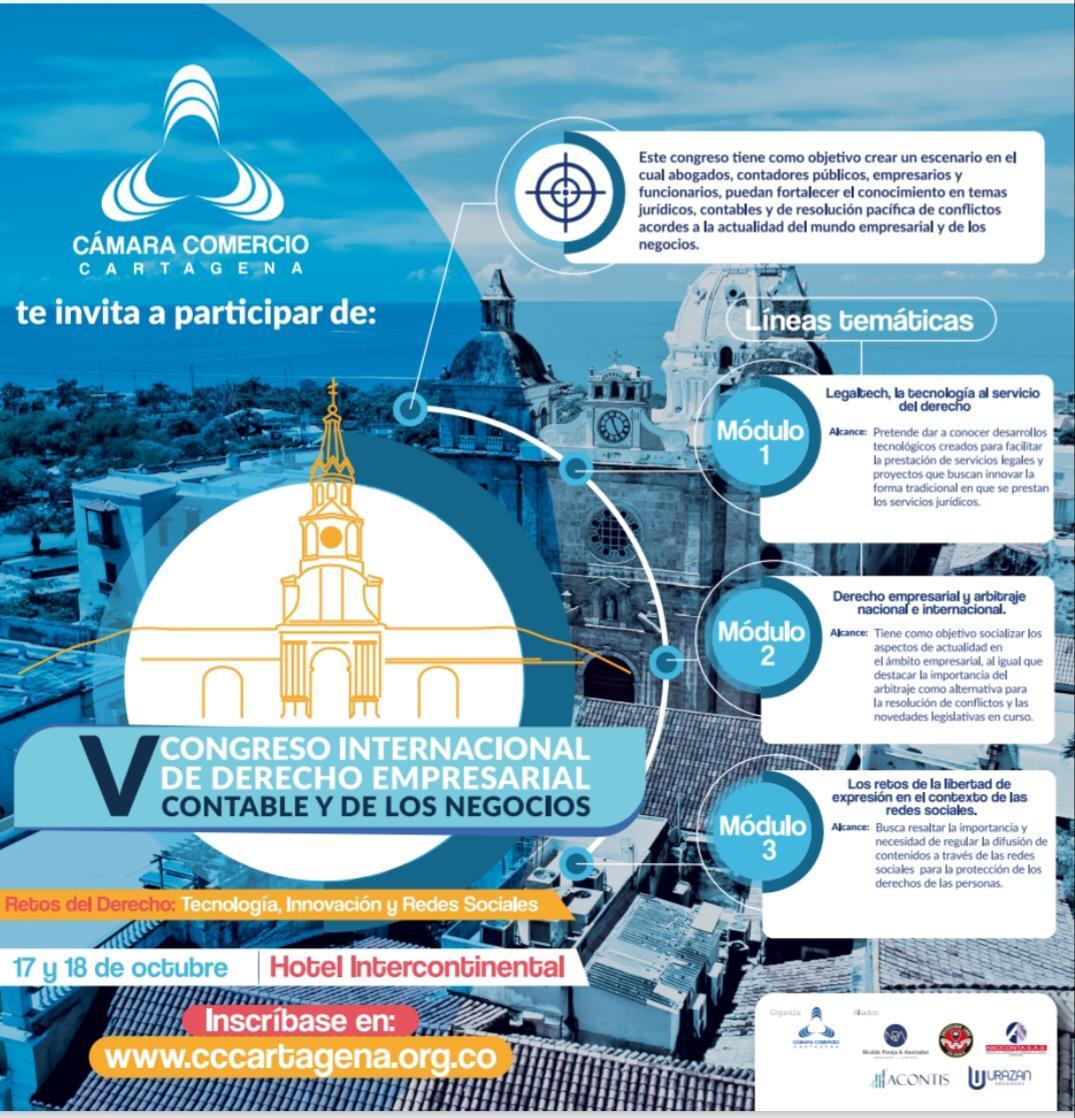 Quinta versión del Congreso Internacional de Derecho Empresarial, Contable y de los Negocios, de la Cámara de Comercio de Cartagena