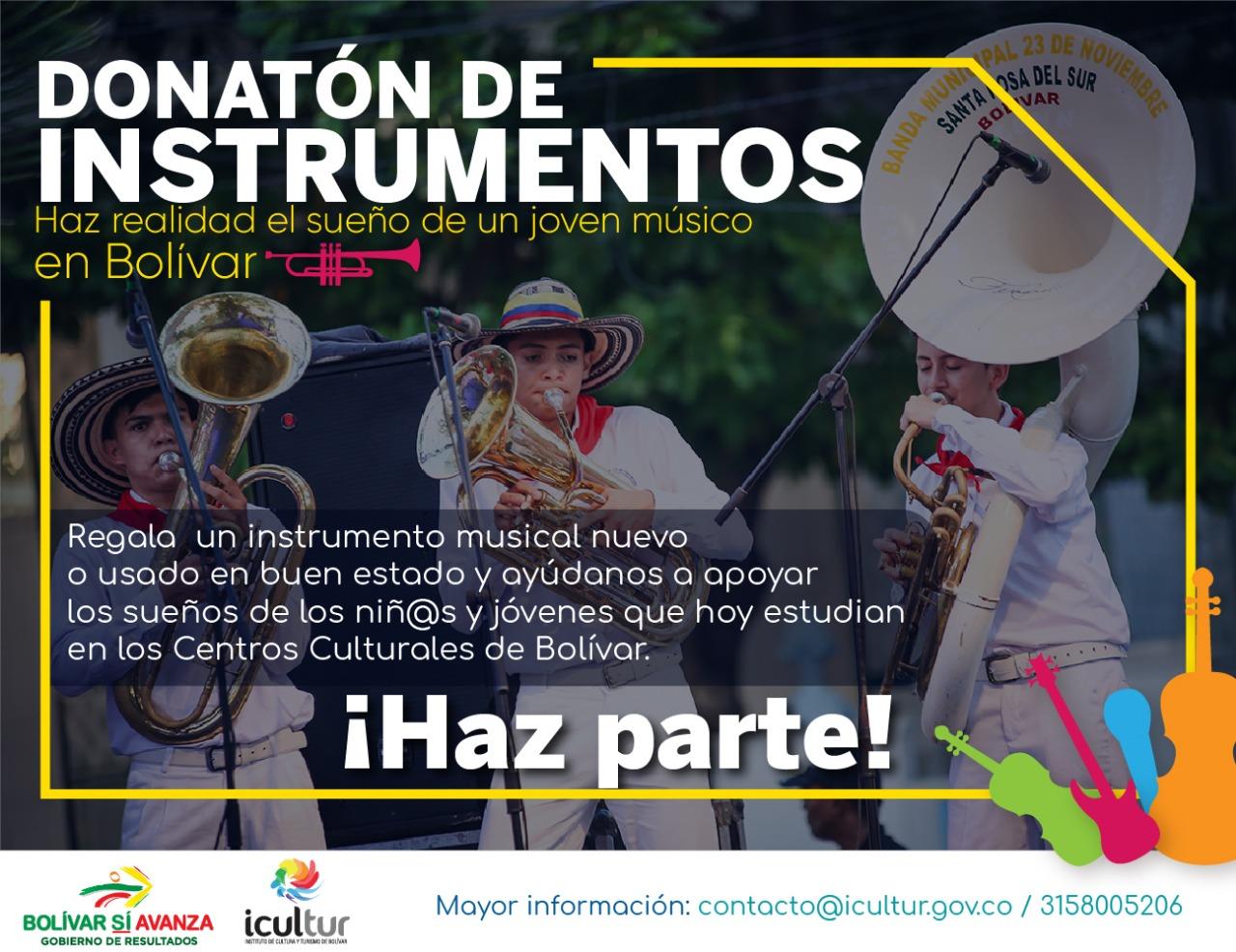 Donatón de instrumentos para músicos de Bolívar será hasta el 15 de noviembre