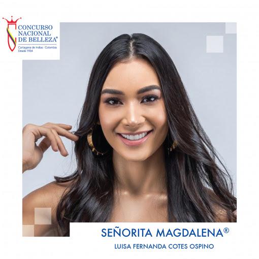 Señorita Magdalena® 2019-2020 Luisa Fernanda Cotes Ospino Nació en Santa Marta el 12 de julio de 1998. Tiene 21 años. Es estudiante de Marketing y Negocios Internacionales en la Universidad Sergio Arboleda, seccional Santa Marta.
