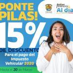 Descuento del 15% al impuesto vehicular por la Gobernación de Bolívar
