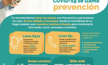 Coosalud invita a sus usuarios a utilizar canales virtuales en medio del CoronaVirus