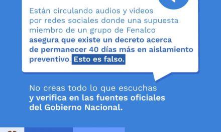 Fenalco desmiente audio sobre prolongación de la cuarentena