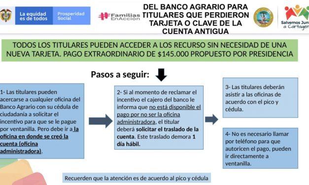 Banco Agrario entregará incentivos a familias que tienen dificultades para cobrar