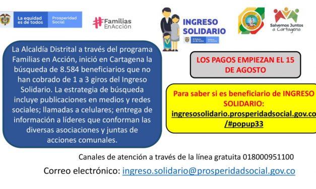 8.584 beneficiarios del programa Ingreso Solidario no han cobrado sus giros
