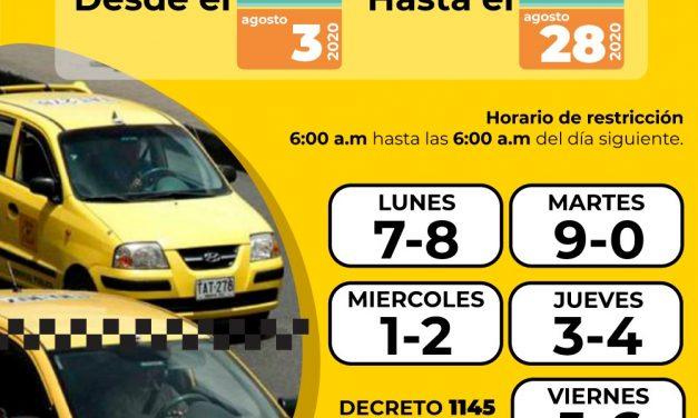 Nueva rotación de pico y placa para taxis en agosto