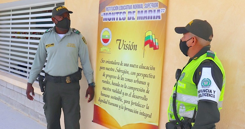 Policía de Bolívar y Escuela Normal Superior Montes de María, trabajan campañas educativas virtuales para garantizarseguridad yconvivencia escolar en San Juan Nepomuceno