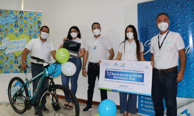 Aguas de Cartagena premió la puntualidad de pago de sus usuarios