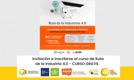 Invitación a inscribirse al curso de Ruta  de la industria 4.0 – CURSO GRATIS