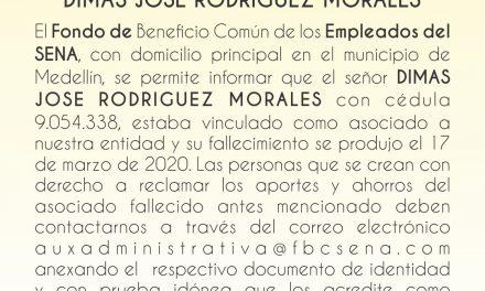 Llamado público a herederos del extinto Dimas José Rodríguez Morales