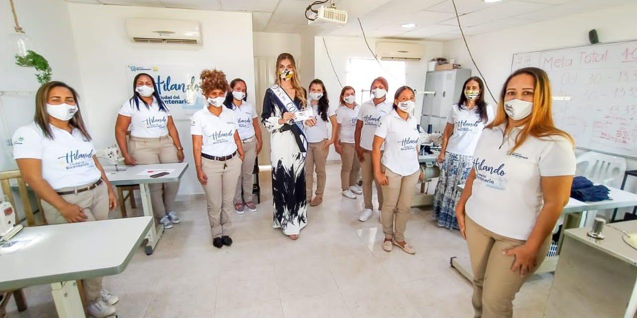 Señorita Colombia visita taller de confecciones 'Hilando en Ciudad del Bicentenario' en Cartagena
