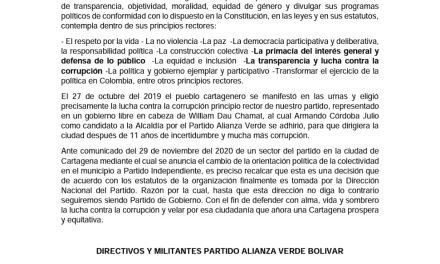 Alianza Verde Bolívar sigue siendo partido de gobierno hasta que la Dirección Nacional del Partido afirme lo contrario