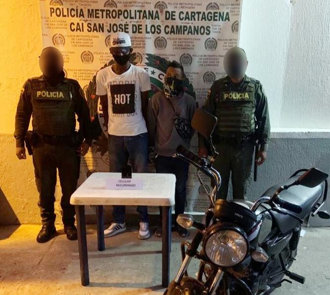 Capturaron asaltantes que se movilizaban en motocicleta, en Cartagena