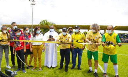 En San Pablo Sur de Bolívar, se inauguró la cancha fútbol 9 Isidro Contreras
